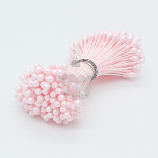 Květinové pestíky - perleťové střední růžové 72ks