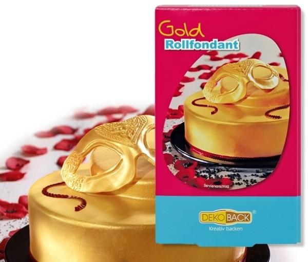 DecoCino Set potahovací hmota - zlatá - 250g